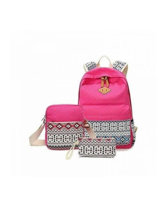 3-in-1  Polka Dots Canvas Backpack School Bag – Pink