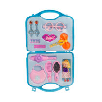 Baby Girl Pretend Hair Grooming Set with Storage Case - Blue