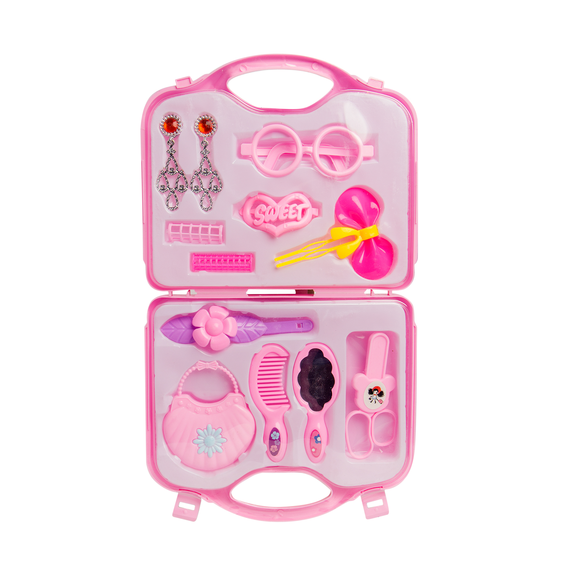 Baby Girl Pretend Hair Grooming Set with Storage Case – Light Purple