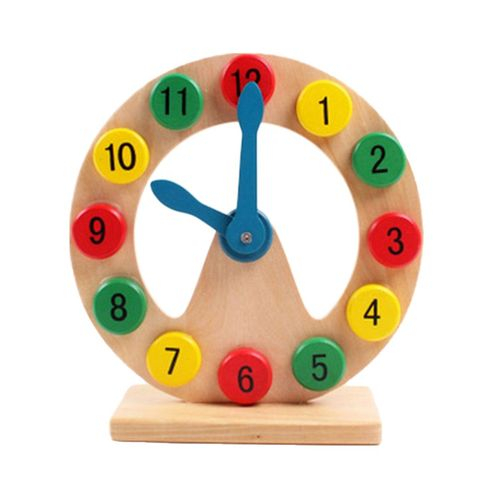Educational Wooden Clock for Kids (3 Years+) – Multicolor