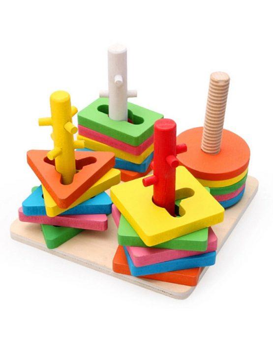 Four Columns Wooden Geometric Shape Pairing Set – Multicolor
