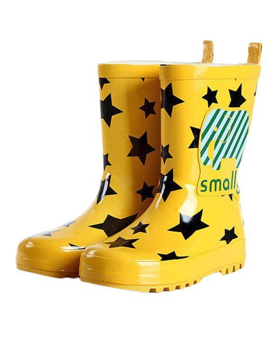 Rubber Fashion Kids Star Printed Rain Boots – Yellow