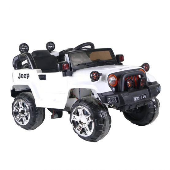 White Rechargeable Jeep Electric Truck
