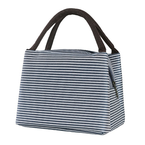 Insulated Lunch Bag -Blue White Stripes