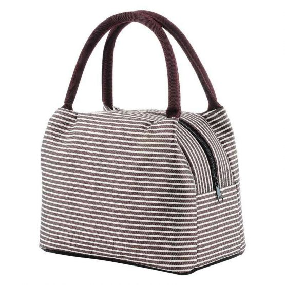 Insulated Lunch Bag – Maroon White Stripes