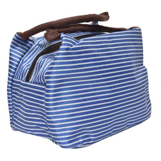 Insulated Lunch Bag – Blue White Stripes
