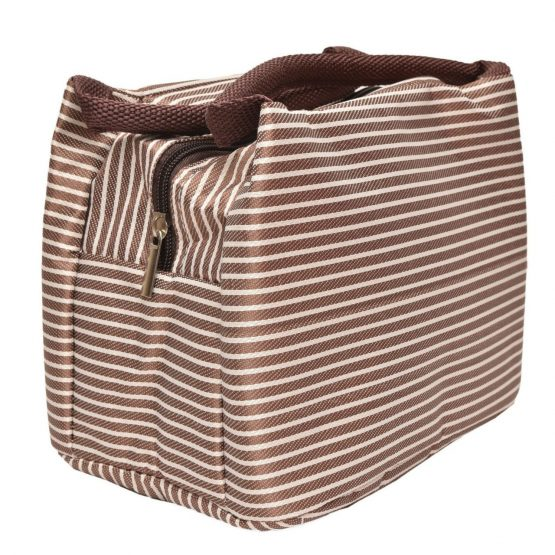 Insulated Lunch Bag – Coffee White Stripes