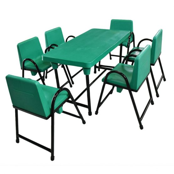 Green Kids Table and 6 Chairs Set