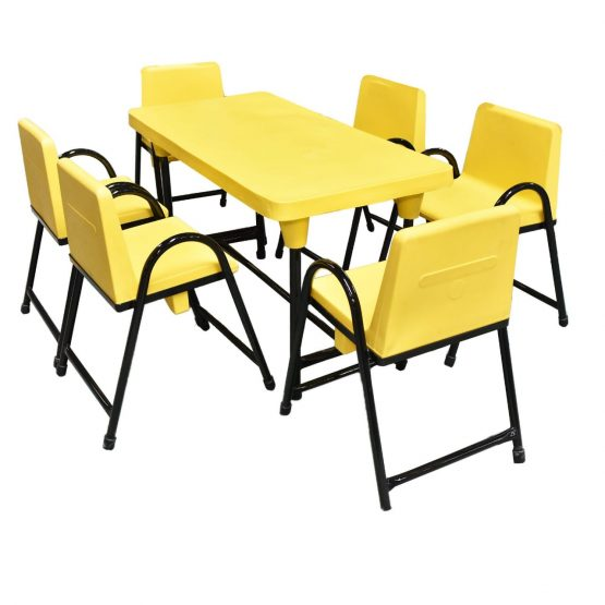 Yellow Kids Table and 6 Chairs Set