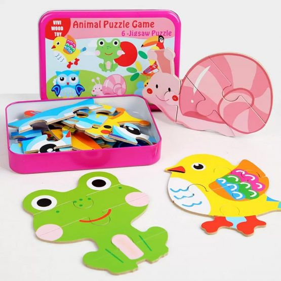 Pink Jigsaw Animal Puzzle Game