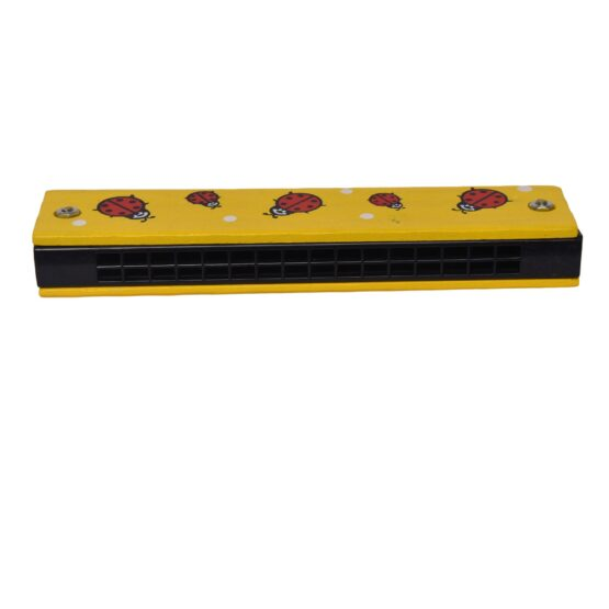 Yellow Children Cartoon Painted Wooden Harmonica