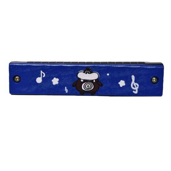 Blue Children Cartoon Painted Wooden Harmonica