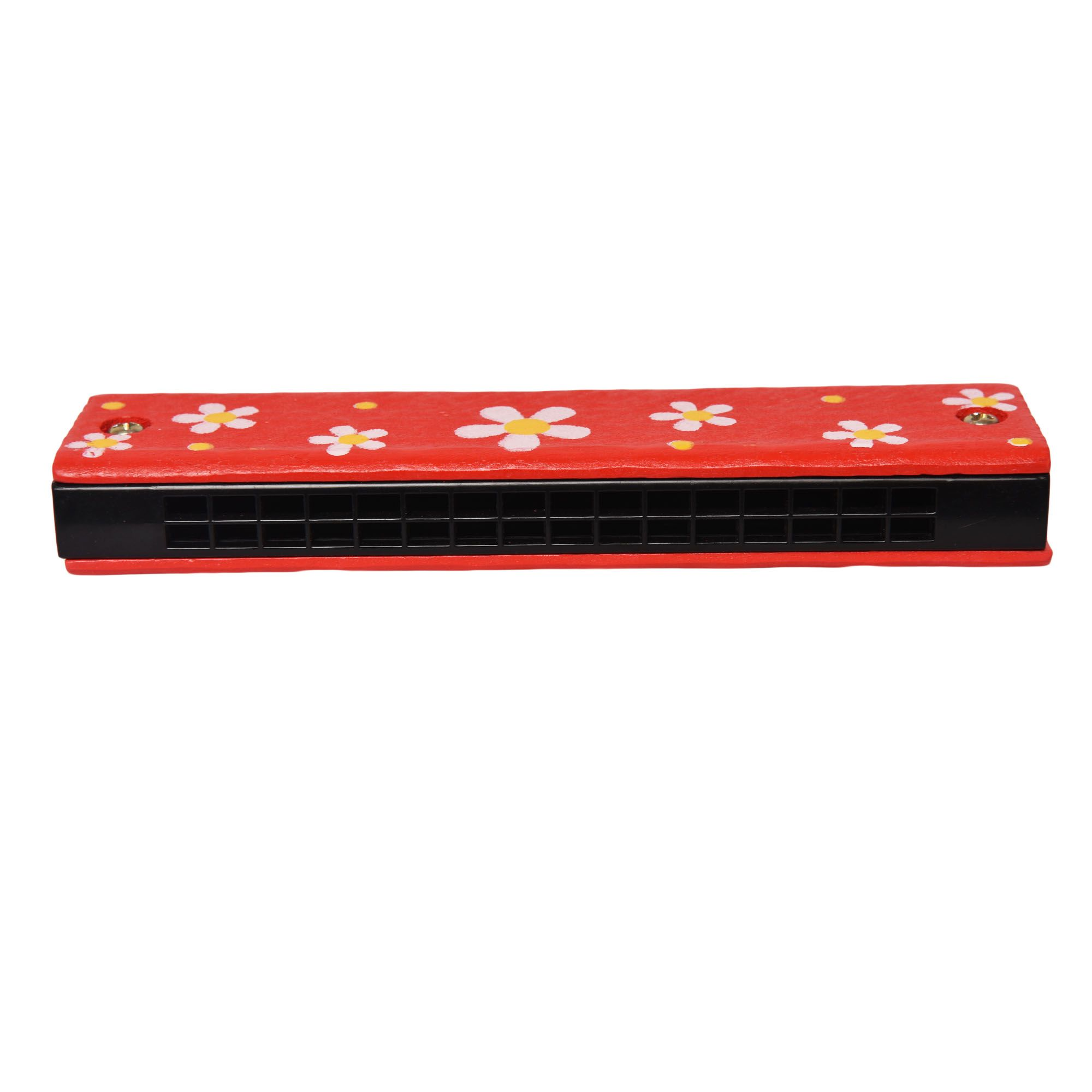 Red Children Cartoon Painted Wooden Harmonica