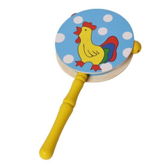 Blue Polka Infant Wooden Rattle Pellet Drum Toy