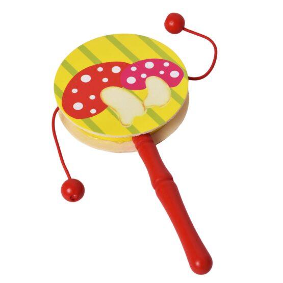 Red Infant Wooden Rattle Pellet Drum Toy