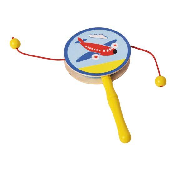 Yellow Infant Wooden Rattle Pellet Drum Toy