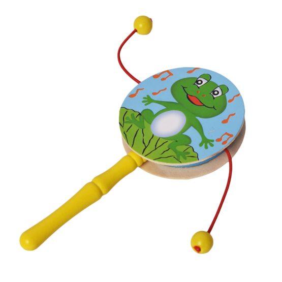 Infant Wooden Rattle Pellet Drum Toy