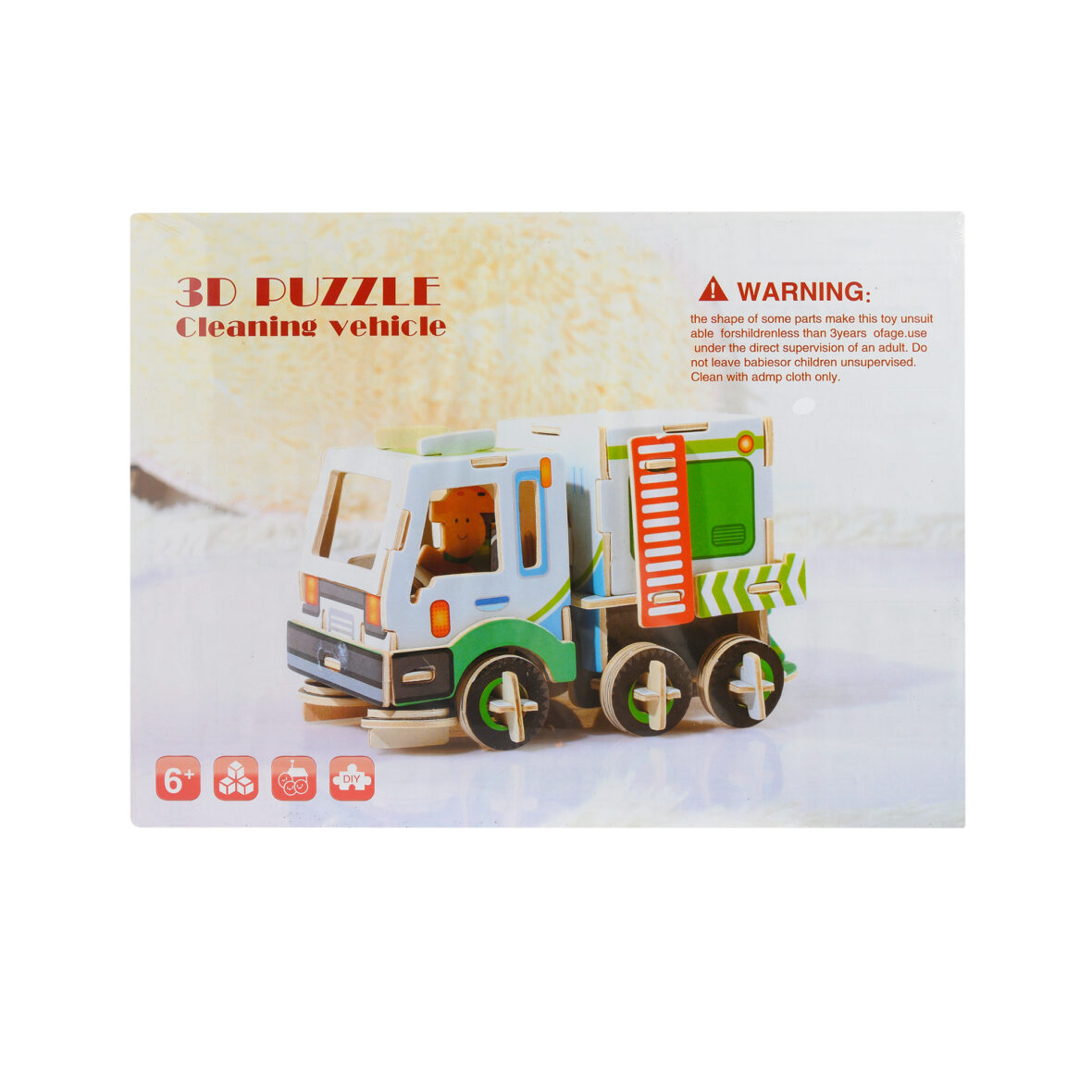 Wooden 3D Puzzle Cleaning Vehicle