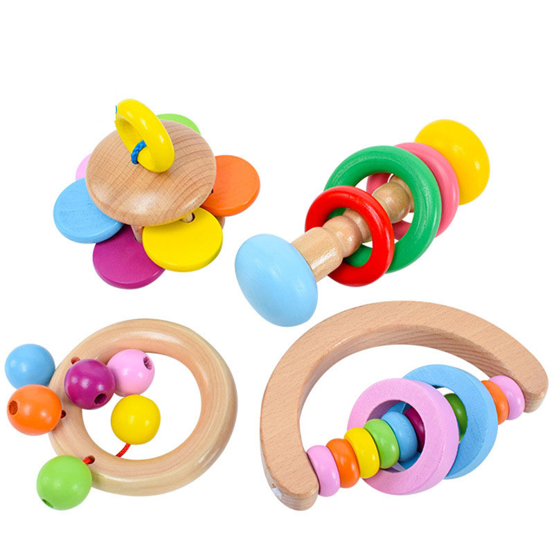 Four Wood Baby Rattle Toy for Kids
